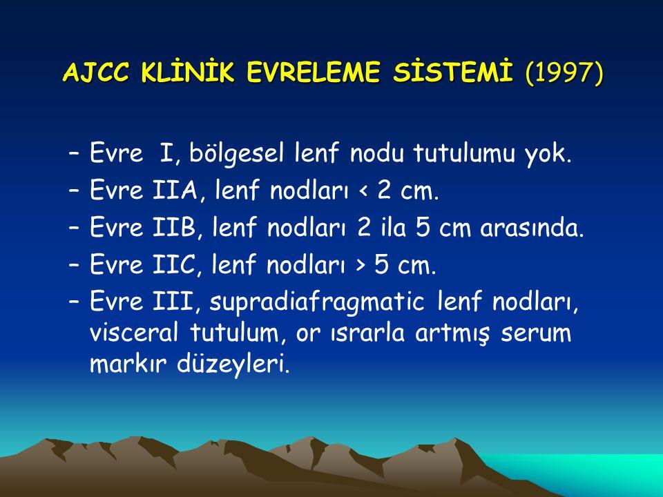 AJCC KLİNİK EVRELEME SİSTEMİ (1997) –Evre I, bölgesel lenf nodu tutulumu yok. –Evre IIA, lenf nodları < 2 cm. –Evre IIB, lenf nodları 2 ila 5 cm arası