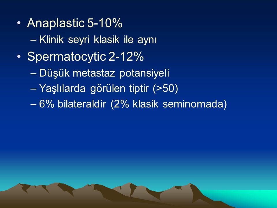 Anaplastic 5-10% –Klinik seyri klasik ile aynı Spermatocytic 2-12% –Düşük metastaz potansiyeli –Yaşlılarda görülen tiptir (>50) –6% bilateraldir (2% k