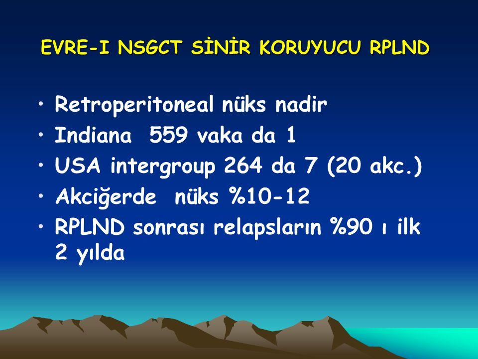 EVRE-I NSGCT SİNİR KORUYUCU RPLND Retroperitoneal nüks nadir Indiana 559 vaka da 1 USA intergroup 264 da 7 (20 akc.) Akciğerde nüks %10-12 RPLND sonra
