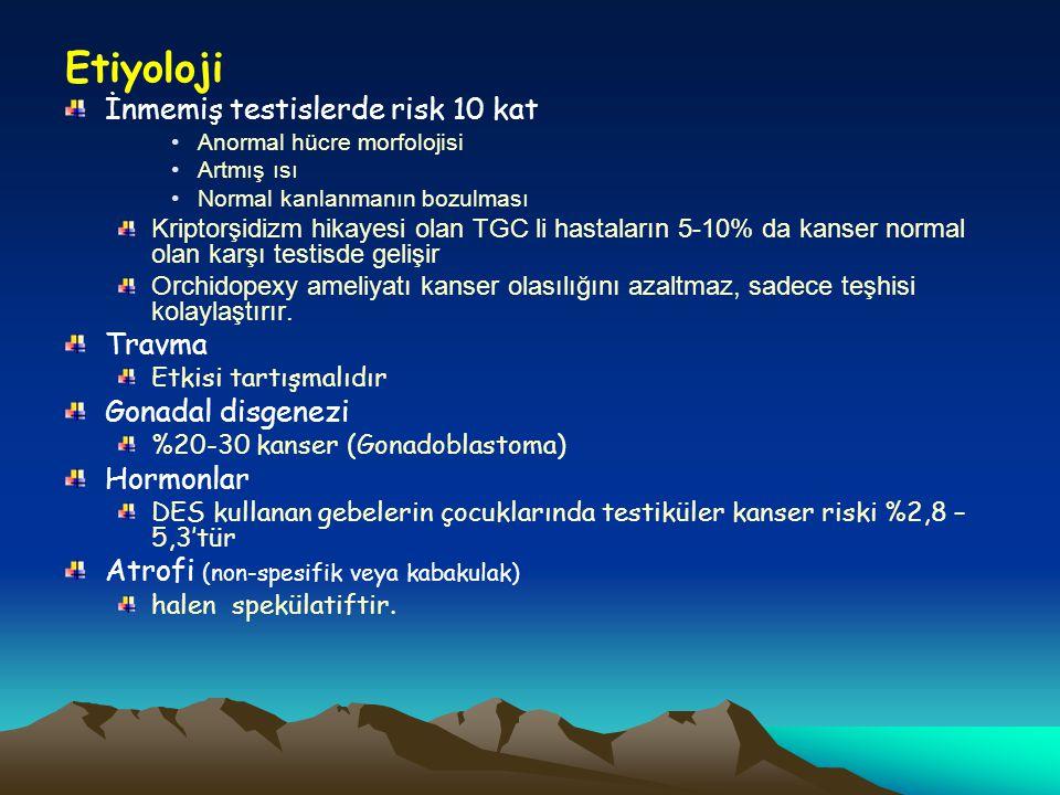 Etiyoloji İnmemiş testislerde risk 10 kat Anormal hücre morfolojisi Artmış ısı Normal kanlanmanın bozulması Kriptorşidizm hikayesi olan TGC li hastala