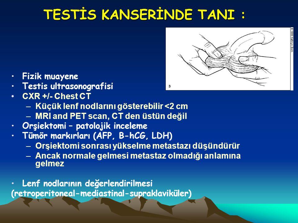 TESTİS KANSERİNDE TANI : Fizik muayene Testis ultrasonografisi CXR +/- Chest CT –Küçük lenf nodlarını gösterebilir <2 cm –MRI and PET scan, CT den üst