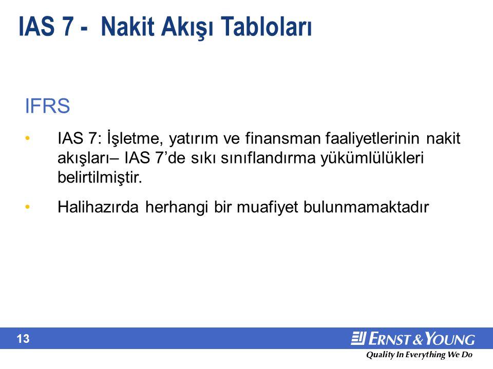 13 IAS 7 - Nakit Akışı Tabloları IFRS IAS 7: İşletme, yatırım ve finansman faaliyetlerinin nakit akışları– IAS 7'de sıkı sınıflandırma yükümlülükleri