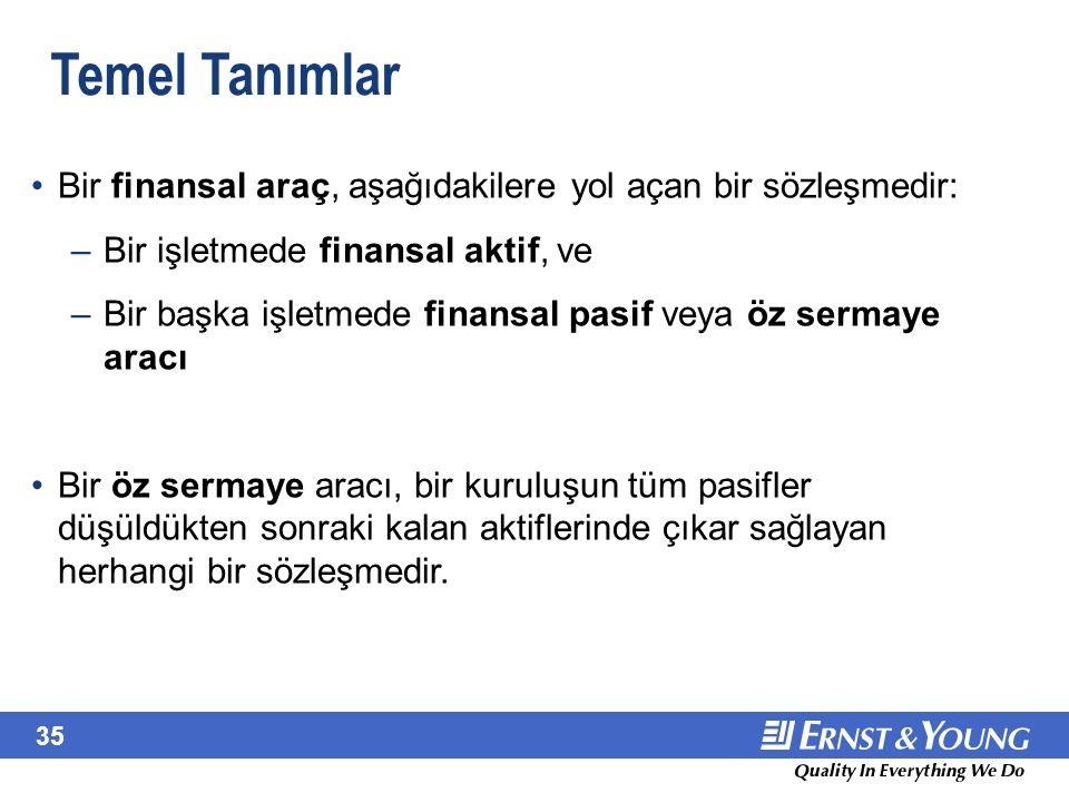 35 Temel Tanımlar Bir finansal araç, aşağıdakilere yol açan bir sözleşmedir: –Bir işletmede finansal aktif, ve –Bir başka işletmede finansal pasif vey