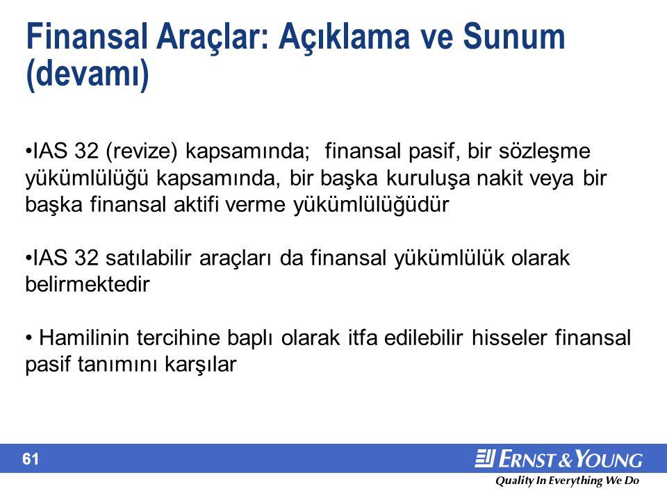 61 Finansal Araçlar: Açıklama ve Sunum (devamı) IAS 32 (revize) kapsamında; finansal pasif, bir sözleşme yükümlülüğü kapsamında, bir başka kuruluşa na