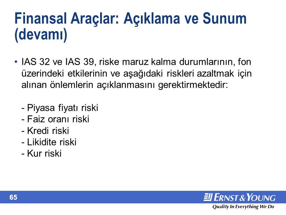 65 Finansal Araçlar: Açıklama ve Sunum (devamı) IAS 32 ve IAS 39, riske maruz kalma durumlarının, fon üzerindeki etkilerinin ve aşağıdaki riskleri aza