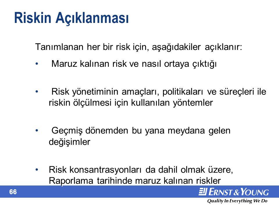 66 Riskin Açıklanması Tanımlanan her bir risk için, aşağıdakiler açıklanır: Maruz kalınan risk ve nasıl ortaya çıktığı Risk yönetiminin amaçları, poli