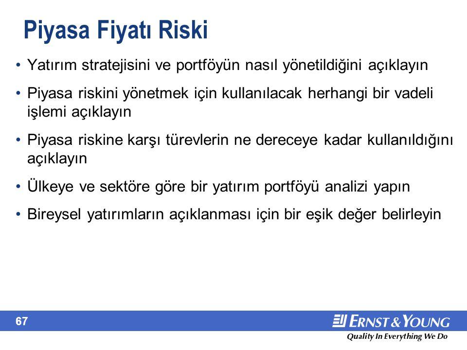 67 Piyasa Fiyatı Riski Yatırım stratejisini ve portföyün nasıl yönetildiğini açıklayın Piyasa riskini yönetmek için kullanılacak herhangi bir vadeli i