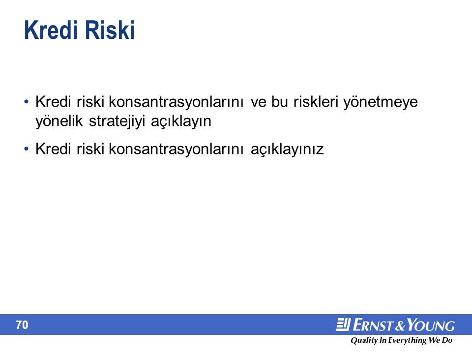 70 Kredi Riski Kredi riski konsantrasyonlarını ve bu riskleri yönetmeye yönelik stratejiyi açıklayın Kredi riski konsantrasyonlarını açıklayınız Kredi