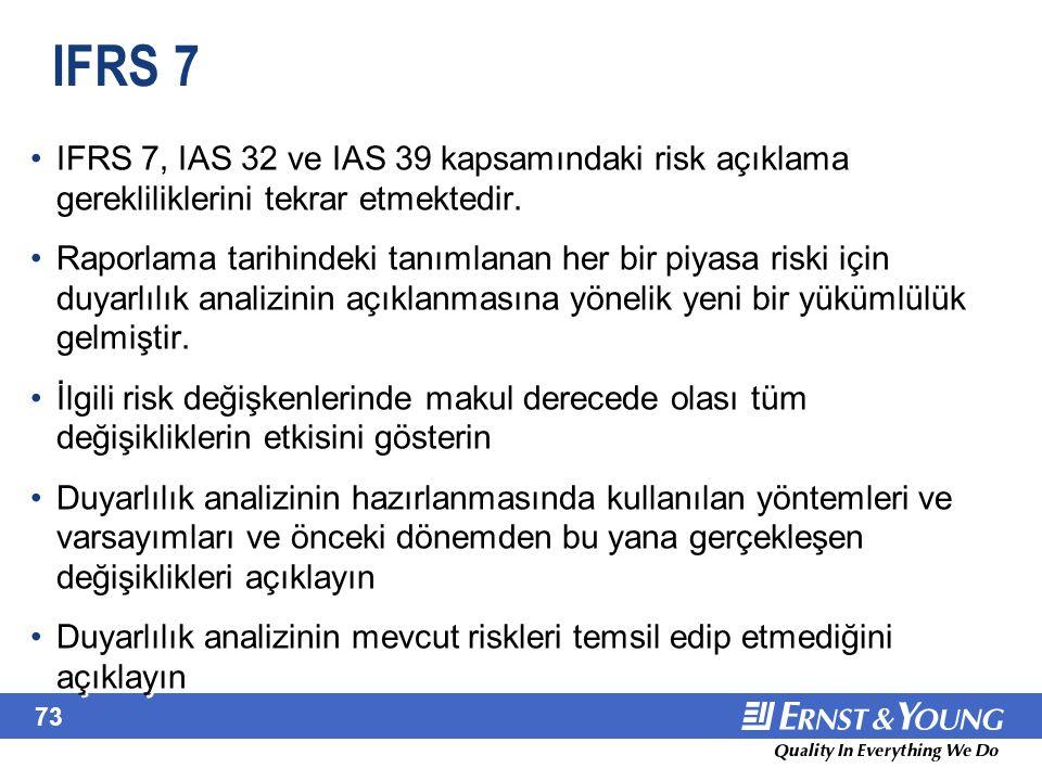73 IFRS 7 IFRS 7, IAS 32 ve IAS 39 kapsamındaki risk açıklama gerekliliklerini tekrar etmektedir. Raporlama tarihindeki tanımlanan her bir piyasa risk