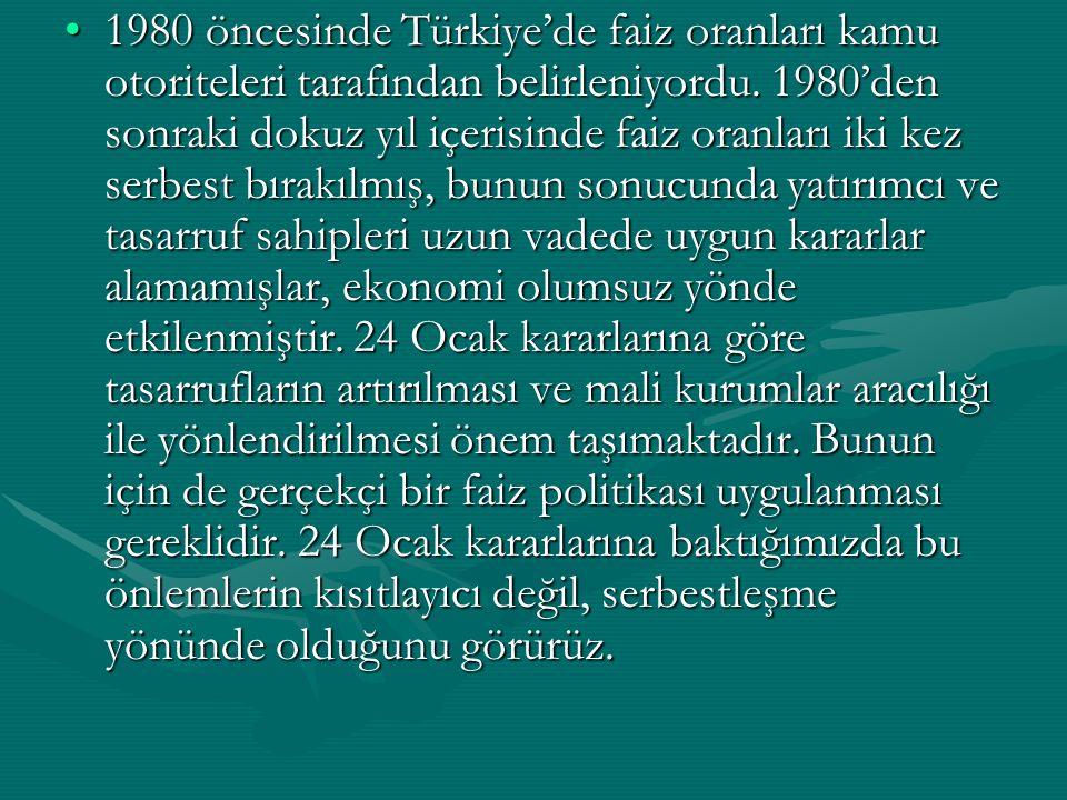 1980 öncesinde Türkiye'de faiz oranları kamu otoriteleri tarafından belirleniyordu. 1980'den sonraki dokuz yıl içerisinde faiz oranları iki kez serbes
