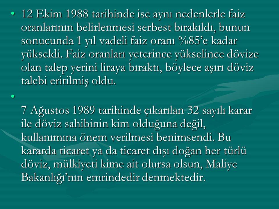 12 Ekim 1988 tarihinde ise aynı nedenlerle faiz oranlarının belirlenmesi serbest bırakıldı, bunun sonucunda 1 yıl vadeli faiz oranı %85'e kadar yüksel