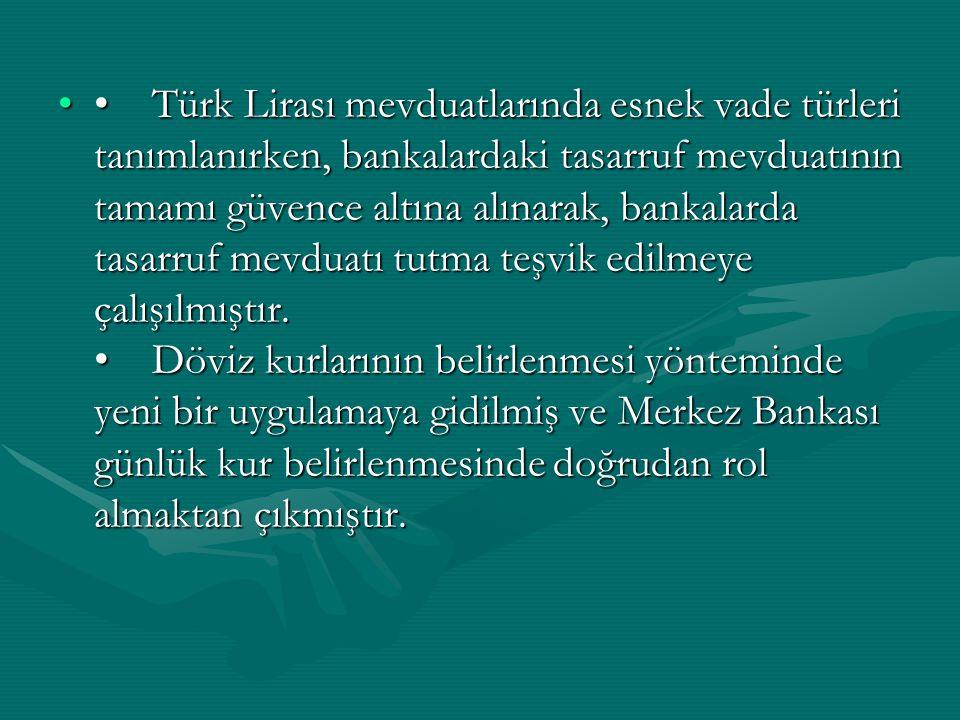 Türk Lirası mevduatlarında esnek vade türleri tanımlanırken, bankalardaki tasarruf mevduatının tamamı güvence altına alınarak, bankalarda tasarruf mev