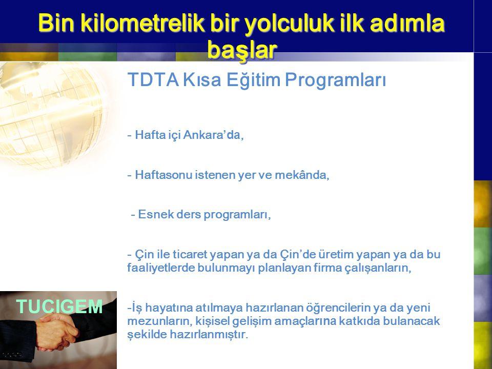 Bin kilometrelik bir yolculuk ilk adımla ba ş lar TDTA Kısa Eğitim Programları - Hafta içi Ankara 'da, - Haftasonu istenen yer ve mekânda, - Esnek der