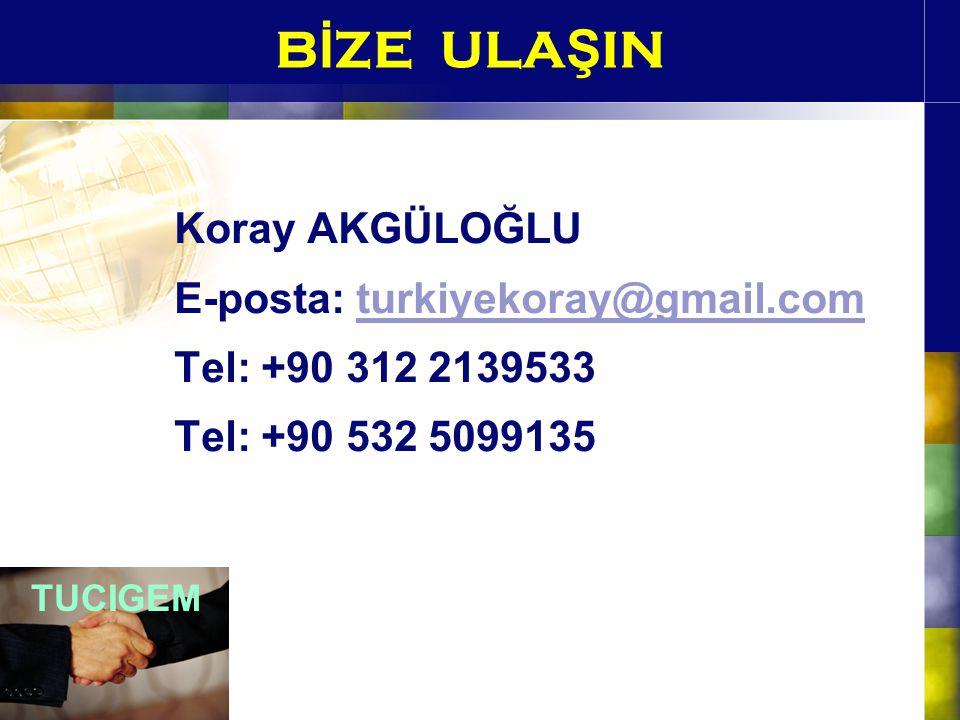 B İ ZE ULA Ş IN Koray AKGÜLOĞLU E-posta: turkiyekoray@gmail.comturkiyekoray@gmail.com Tel: +90 312 2139533 Tel: +90 532 5099135 TUCIGEM