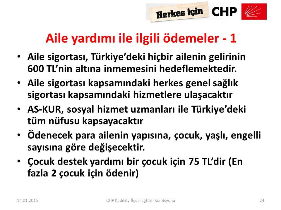 Aile yardımı ile ilgili ödemeler - 1 Aile sigortası, Türkiye'deki hiçbir ailenin gelirinin 600 TL'nin altına inmemesini hedeflemektedir. Aile sigortas