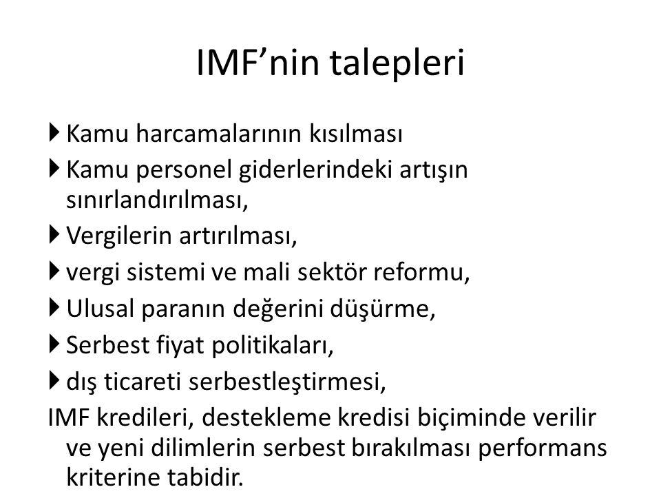 IMF'nin talepleri  Kamu harcamalarının kısılması  Kamu personel giderlerindeki artışın sınırlandırılması,  Vergilerin artırılması,  vergi sistemi