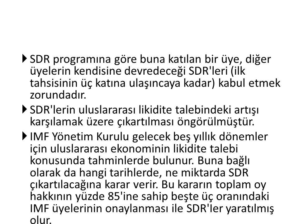  SDR programına göre buna katılan bir üye, diğer üyelerin kendisine devredeceği SDR'leri (ilk tahsisinin üç katına ulaşıncaya kadar) kabul etmek zoru