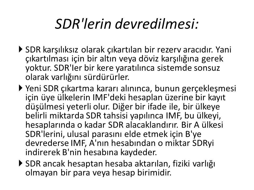 SDR'lerin devredilmesi:  SDR karşılıksız olarak çıkartılan bir rezerv aracıdır. Yani çıkartılması için bir altın veya döviz karşılığına gerek yoktur.