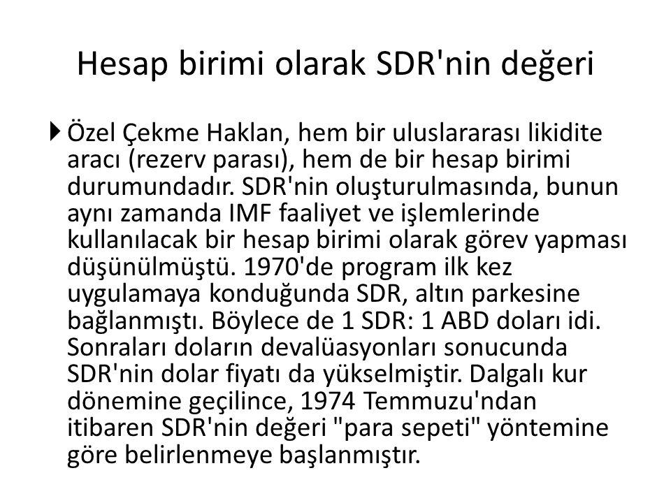 Hesap birimi olarak SDR'nin değeri  Özel Çekme Haklan, hem bir uluslararası likidite aracı (rezerv parası), hem de bir hesap birimi durumundadır. SDR