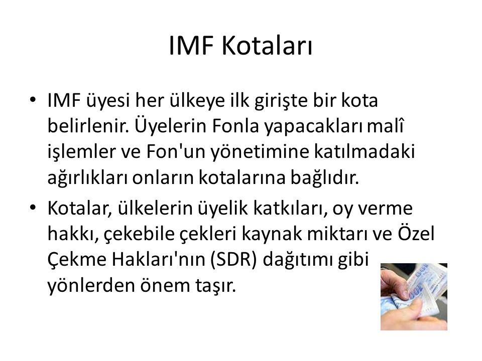 IMF Kotaları IMF üyesi her ülkeye ilk girişte bir kota belirlenir. Üyelerin Fonla yapacakları malî işlemler ve Fon'un yönetimine katılmadaki ağırlıkla