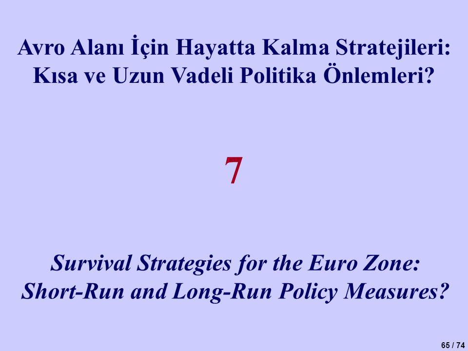 65 / 74 Avro Alanı İçin Hayatta Kalma Stratejileri: Kısa ve Uzun Vadeli Politika Önlemleri? Survival Strategies for the Euro Zone: Short-Run and Long-