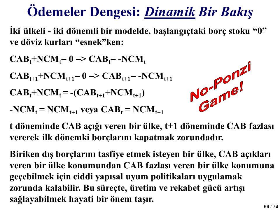 """66 / 74 İki ülkeli - iki dönemli bir modelde, başlangıçtaki borç stoku """"0"""" ve döviz kurları """"esnek""""ken: CAB t +NCM t = 0 => CAB t = -NCM t CAB t+1 +NC"""