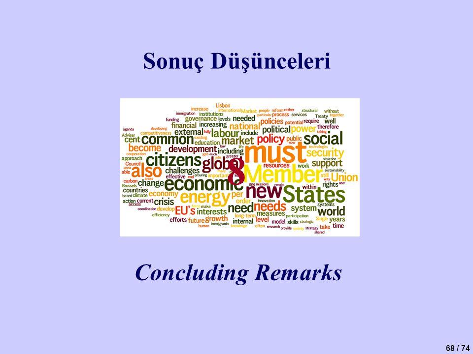 68 / 74 Sonuç Düşünceleri Concluding Remarks 8