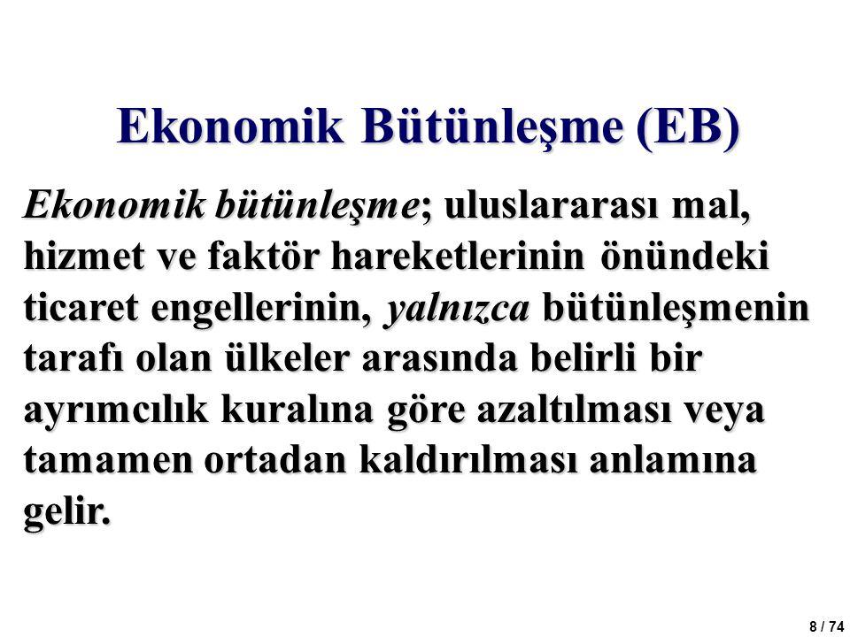8 / 74 Ekonomik Bütünleşme (EB) Ekonomik bütünleşme; uluslararası mal, hizmet ve faktör hareketlerinin önündeki ticaret engellerinin, yalnızca bütünle