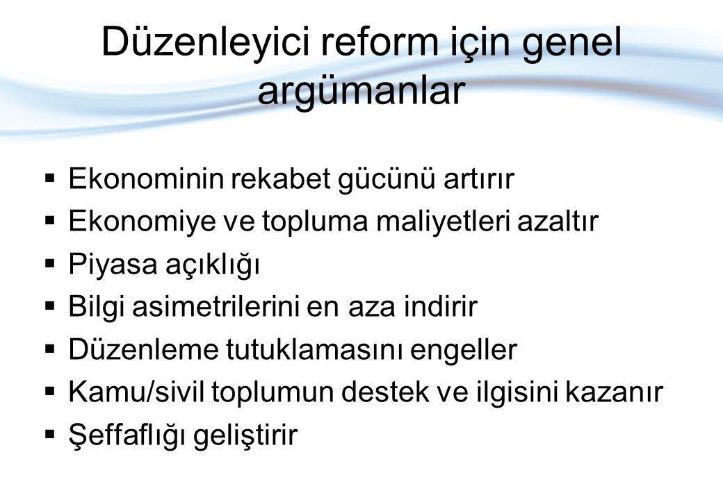 Düzenleyici reform için genel argümanlar  Ekonominin rekabet gücünü artırır  Ekonomiye ve topluma maliyetleri azaltır  Piyasa açıklığı  Bilgi asimetrilerini en aza indirir  Düzenleme tutuklamasını engeller  Kamu/sivil toplumun destek ve ilgisini kazanır  Şeffaflığı geliştirir