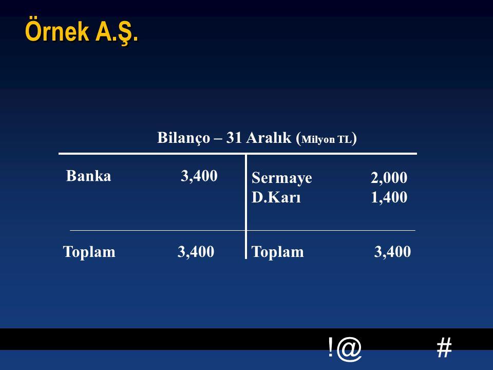 # !@ Örnek A.Ş. Bilanço – 31 Aralık ( Milyon TL ) Banka 3,400 Sermaye 2,000 D.Karı 1,400 Toplam 3,400