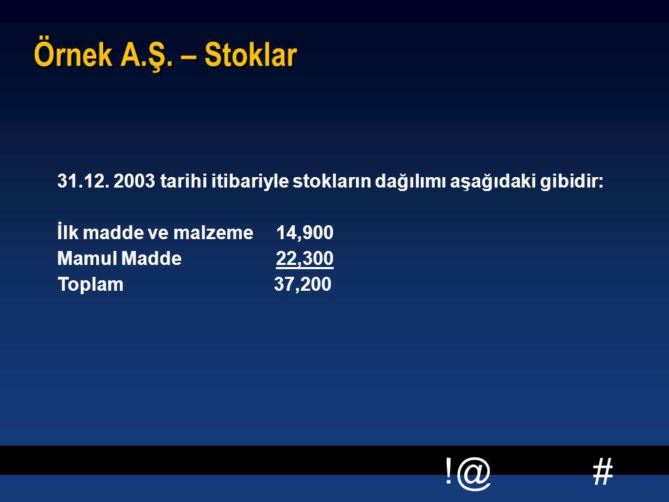 # !@ Örnek A.Ş. – Stoklar  31.12. 2003 tarihi itibariyle stokların dağılımı aşağıdaki gibidir: İlk madde ve malzeme 14,900 Mamul Madde 22,300 Toplam