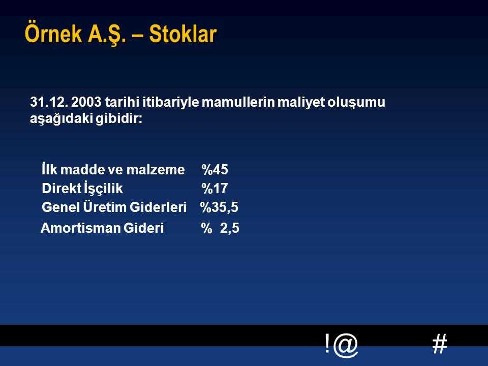 # !@ Örnek A.Ş. – Stoklar  31.12. 2003 tarihi itibariyle mamullerin maliyet oluşumu aşağıdaki gibidir: İlk madde ve malzeme %45 Direkt İşçilik %17 Ge