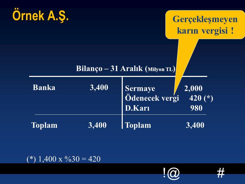 # !@ Örnek A.Ş. Bilanço – 31 Aralık ( Milyon TL ) Banka 3,400 Sermaye 2,000 Ödenecek vergi 420 (*) D.Karı 980 Toplam 3,400 Gerçekleşmeyen karın vergis