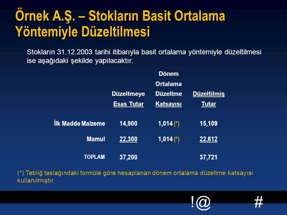 # !@ Örnek A.Ş. – Stokların Basit Ortalama Yöntemiyle Düzeltilmesi Stokların 31.12.2003 tarihi itibarıyla basit ortalama yöntemiyle düzeltilmesi ise a