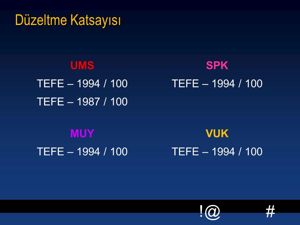 # !@ Düzeltme Katsayısı UMS TEFE – 1994 / 100 TEFE – 1987 / 100 SPK TEFE – 1994 / 100 MUY TEFE – 1994 / 100 VUK TEFE – 1994 / 100