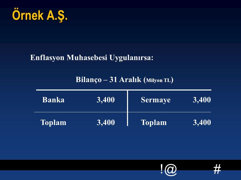 # !@ Örnek A.Ş. Enflasyon Muhasebesi Uygulanırsa: Bilanço – 31 Aralık ( Milyon TL ) Banka 3,400 Sermaye 3,400 Toplam 3,400 Toplam 3,400