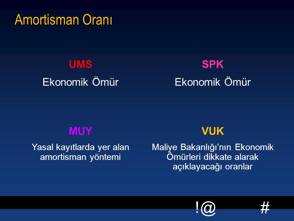 # !@ Amortisman Oranı UMS Ekonomik Ömür SPK Ekonomik Ömür MUY Yasal kayıtlarda yer alan amortisman yöntemi VUK Maliye Bakanlığı'nın Ekonomik Ömürleri dikkate alarak açıklayacağı oranlar