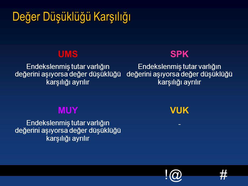 # !@ Değer Düşüklüğü Karşılığı UMS Endekslenmiş tutar varlığın değerini aşıyorsa değer düşüklüğü karşılığı ayrılır SPK Endekslenmiş tutar varlığın değ