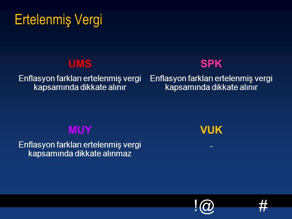 # !@ Ertelenmiş Vergi UMS Enflasyon farkları ertelenmiş vergi kapsamında dikkate alınır SPK Enflasyon farkları ertelenmiş vergi kapsamında dikkate alı