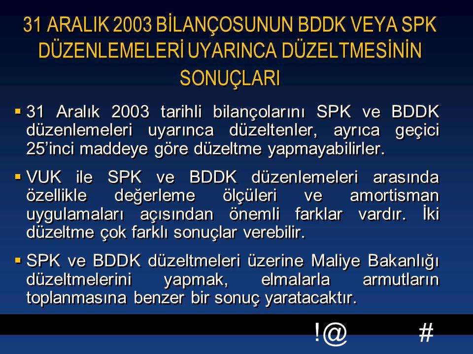 # !@ 31 ARALIK 2003 BİLANÇOSUNUN BDDK VEYA SPK DÜZENLEMELERİ UYARINCA DÜZELTMESİNİN SONUÇLARI  31 Aralık 2003 tarihli bilançolarını SPK ve BDDK düzen