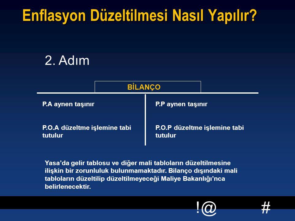 # !@ Enflasyon Düzeltilmesi Nasıl Yapılır? BİLANÇO P.A aynen taşınır P.O.A düzeltme işlemine tabi tutulur P.P aynen taşınır P.O.P düzeltme işlemine ta