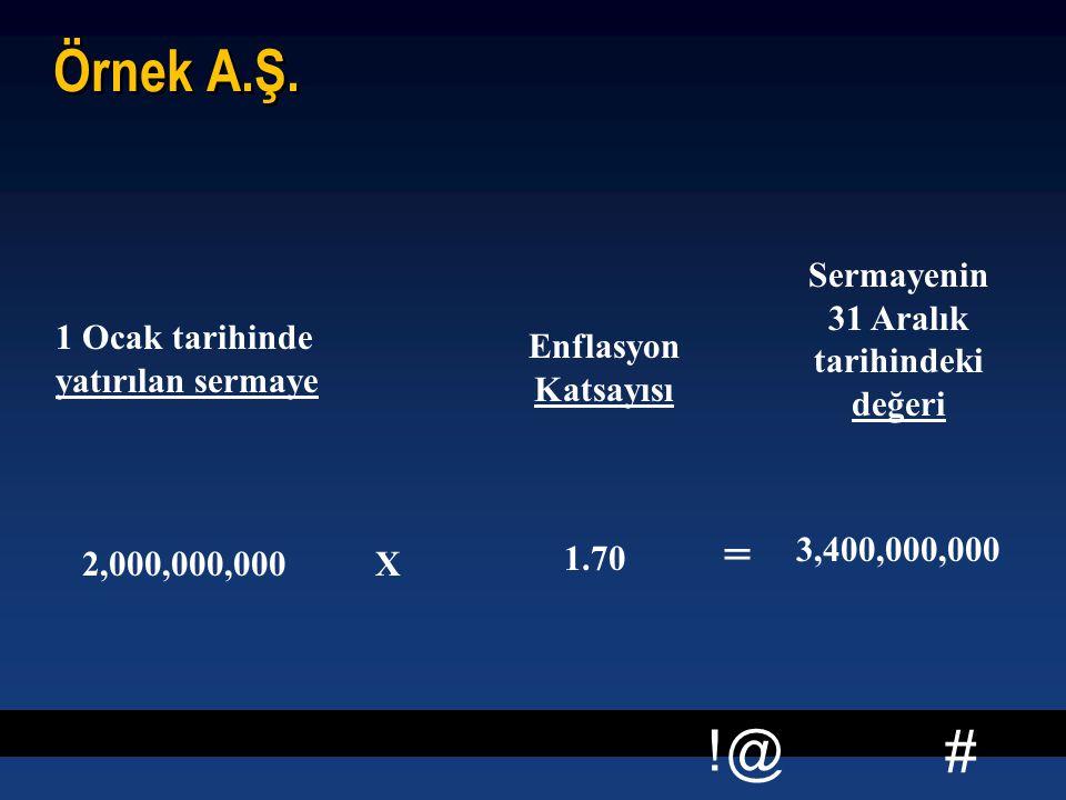 # !@ Örnek A.Ş. 1 Ocak tarihinde yatırılan sermaye 2,000,000,000 X Enflasyon Katsayısı 1.70 = Sermayenin 31 Aralık tarihindeki değeri 3,400,000,000