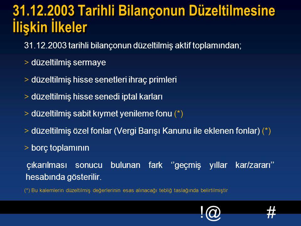 # !@ 31.12.2003 Tarihli Bilançonun Düzeltilmesine İlişkin İlkeler 31.12.2003 tarihli bilançonun düzeltilmiş aktif toplamından; > düzeltilmiş sermaye >