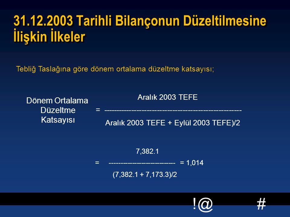 # !@ 31.12.2003 Tarihli Bilançonun Düzeltilmesine İlişkin İlkeler 7,382.1 = ----------------------------- = 1,014 (7,382.1 + 7,173.3)/2 7,382.1 = ----