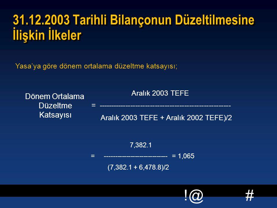 # !@ 31.12.2003 Tarihli Bilançonun Düzeltilmesine İlişkin İlkeler 7,382.1 = ----------------------------- = 1,065 (7,382.1 + 6,478.8)/2 7,382.1 = ----