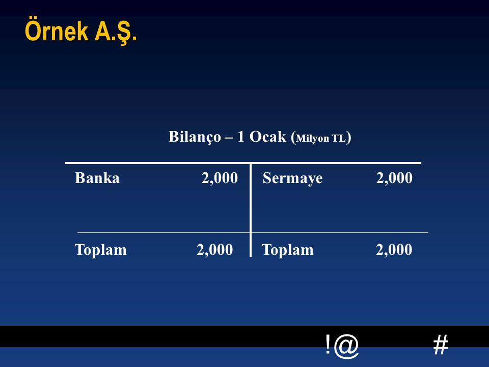 # !@ Örnek A.Ş. Bilanço – 1 Ocak ( Milyon TL ) Banka 2,000 Sermaye 2,000 Toplam 2,000