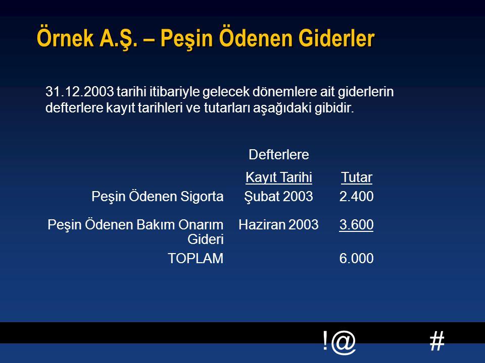 # !@ Örnek A.Ş. – Peşin Ödenen Giderler 31.12.2003 tarihi itibariyle gelecek dönemlere ait giderlerin defterlere kayıt tarihleri ve tutarları aşağıdak
