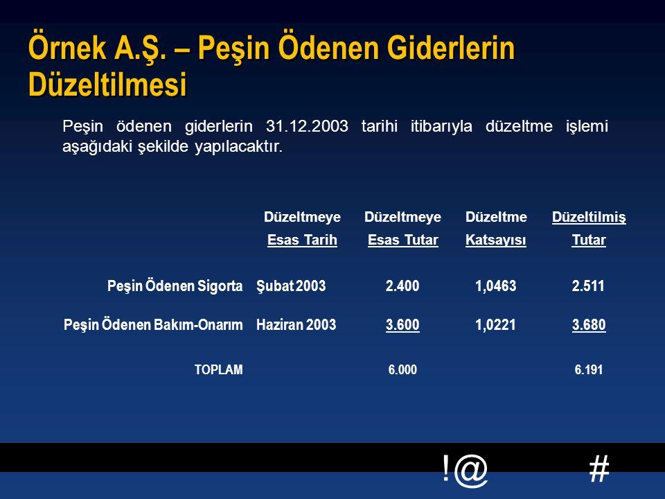 # !@ Örnek A.Ş. – Peşin Ödenen Giderlerin Düzeltilmesi Peşin ödenen giderlerin 31.12.2003 tarihi itibarıyla düzeltme işlemi aşağıdaki şekilde yapılaca