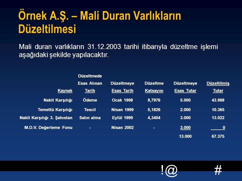 # !@ Örnek A.Ş. – Mali Duran Varlıkların Düzeltilmesi Mali duran varlıkların 31.12.2003 tarihi itibarıyla düzeltme işlemi aşağıdaki şekilde yapılacakt