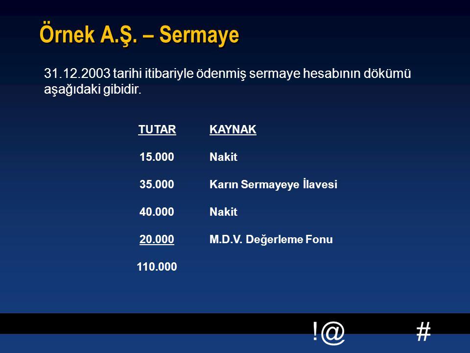 # !@ Örnek A.Ş. – Sermaye 31.12.2003 tarihi itibariyle ödenmiş sermaye hesabının dökümü aşağıdaki gibidir. TUTARKAYNAK 15.000Nakit 35.000Karın Sermaye